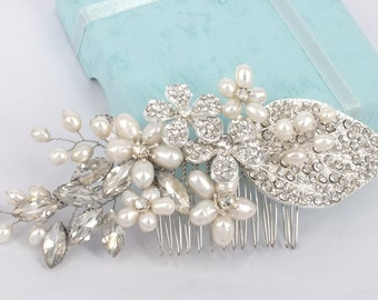 Anna-Freshwater pearl and Rhinestone Bridal Comb