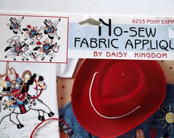 Kids/Childrens CottonFabric Appliques, Pony Express by Daisy Kingdom, Sew or NO Sew, LAST One, Clearance Sale