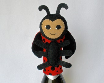 Ladybug Bottle Topper, Bottle Cozy, Ladybug Wine Bottle Topper, Wine Accessories, Felt Ladybug Puppet,  Hostess Gift, Good Spirits™