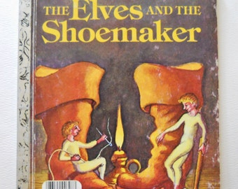 Vintage Little Golden Book - The Elves and the Shoemaker - Fairy Tale Storybook - Vintage Fable