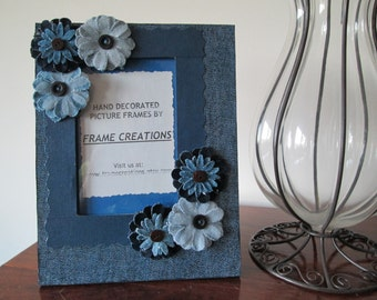 4x6 Floral Themed - Hand Decorated Picture Frame