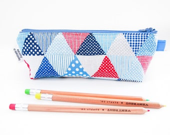Zippered Pencil Case / Pouch - Blue and Red Triangles