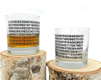 Pi Whiskey Glasses - Set of Two Small Tumbler Glasses - 11oz.