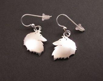 Sheltie Silver Earrings