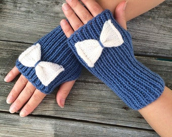 Bow Fingerless Gloves, Gloves with Bow, Knit Bow Gloves