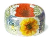 Bracelet -Real Flower Jewelry-  Purple Bangle- Pink Flower Jewelry- Resin Jewelry- Flower Bangle- Green Resin Bracelet