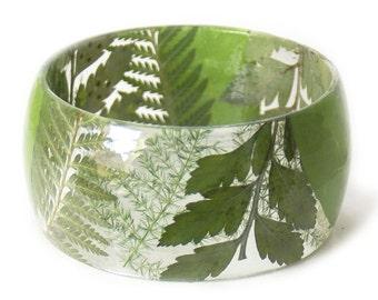 Green Bracelet- Green Bangle- Green Leaf Jewelry- Resin Jewelry- Flower Bangle- Green Resin Bracelet