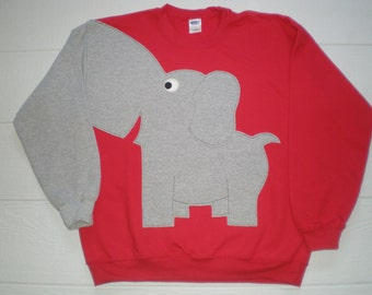 Elephant sweatshirt, Trunk sleeve. Red elephant shirt, Adult sizes, BRiGHT Red. Alabama crimson tide!!