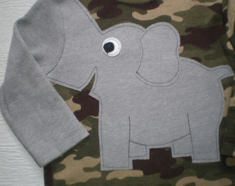 Elephant t-shirt, long sleeve waffle weave, elephant shirt, elephant trunk sleeve shirt, infant size 24 months, crewneck camo print