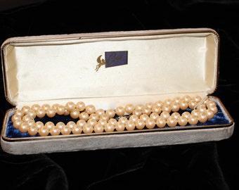 """Vintage Coro Costume Pearl 30"""" Necklace in Original Box"""