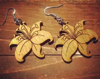 Wood Orchid Flower Dangle Earrings