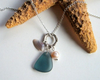 Beach Trio - Ocean Blue Sea Glass, Tiny Seashell and Freshwater Pearl Necklace - Summer necklace, ocean, shell, beach glass, natural, ooak