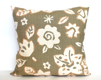 Decorative Pillow Beige Pillow Floral Pillow Modern Accent Pillow Throw Pillow Cushion Cover Euro Sham 26x26 24x24 22x22 20x20 18x18 16x16