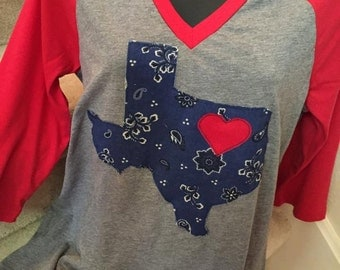 V-neck Shirt with Navy Bandana Texas