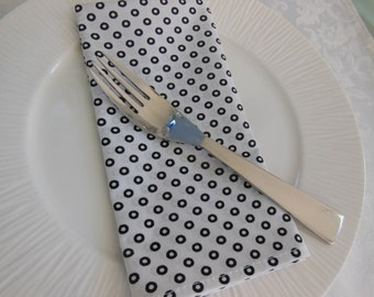 Black and White Cloth Napkins - Set of Four -  White with Black Donut Dots Napkins by Pillowscape Designs - Contemporary Napkins