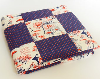 Homemade Patchwork Quilt, Navy & Red Paris Street Scenes Throw Quilt