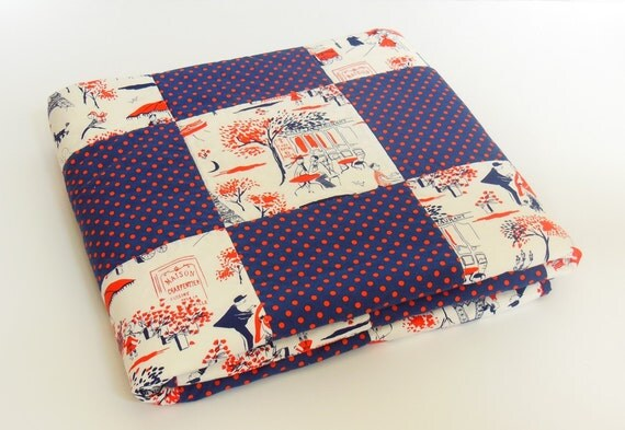 Homemade Patchwork Quilt, Navy & Red Paris Street Scenes Throw Quilt