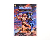 """vintage 80s He-Man poster book coloring book Masters of the Universe fold out poster book 14""""x20"""" 10 posters 1982 Mattel Golden"""