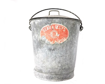 French Vintage Zinc bucket  gathering pail with cover Extra large