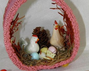 Vintage Chicken, Rooster, Eggs in a Nest with Butterfly and Pinecone Decor