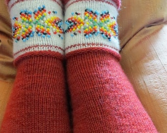 Firecracker Red beaded wool socks