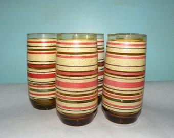 Mod Tumblers Drinkware- Glassware Mid Century Barware- DRINKING GLASSES Vintage Glass Set Juice Glasses-