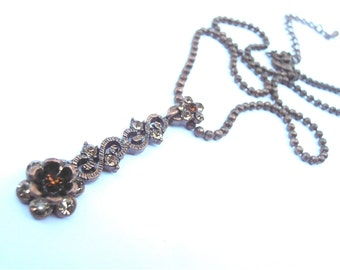 Vintage Brown Crystal Ball Chain Necklace Etched Flower Art Nouveau Copper Like Metallic Bronze Floral Rhinestones Y Dangling Pendant Glass