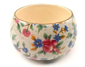 Vintage Royal Winton Sugar Cube Bowl Round Ceramic Pottery Gold Gilt Gild Floral Pink Blue Green Yellow Old Cottage Chintz Grimwades England