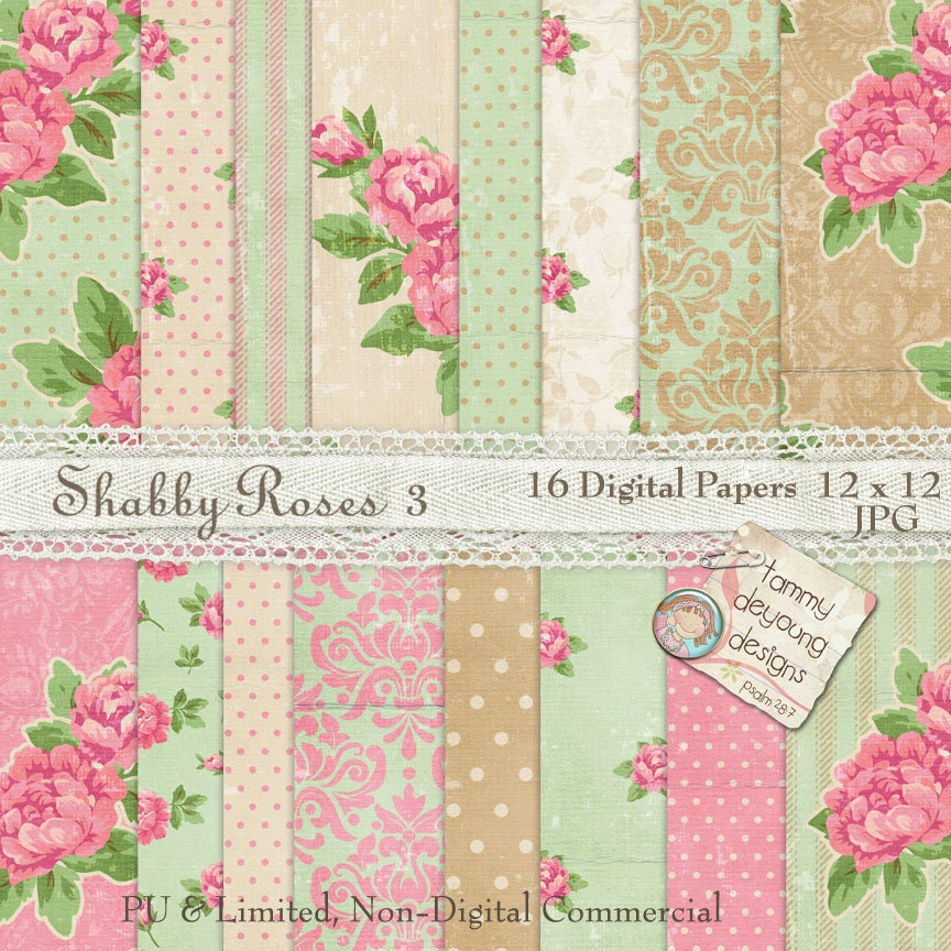 shabby chic roses digital paper english garden cottage with vintage antique style in mint pink. Black Bedroom Furniture Sets. Home Design Ideas