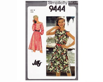 80s Jiffy Pullover Dress UNCUT Sewing Pattern Size 16 Bust 38 or Size 18-20 Bust 40-42 Simplicity 9444 Sleeveless Dress or long sleeves