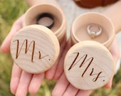 Mr and Mrs Ring Box Set Keepsake Ring Box Engraved Rustic Wedding Ring Box