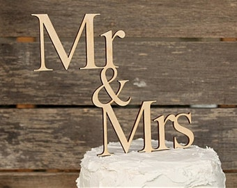 Mr & Mrs Wedding Cake Topper Rustic Wedding Cake Topper Wood Cake Topper