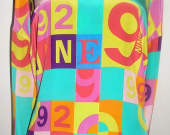 ESCADA Vintage Haute Couture Blouse Numbers 1992 One Neon Green Pink Blue 34 4