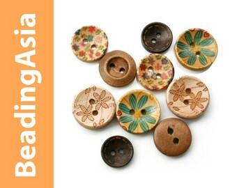 10 pcs Wooden Buttons Mixed Lot (795-054)