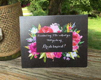 Chalkboard Rose Floral Will you be my Bridesmaid card, bridesmaid proposal, bridesmaid invitation, wedding party card, bridal party