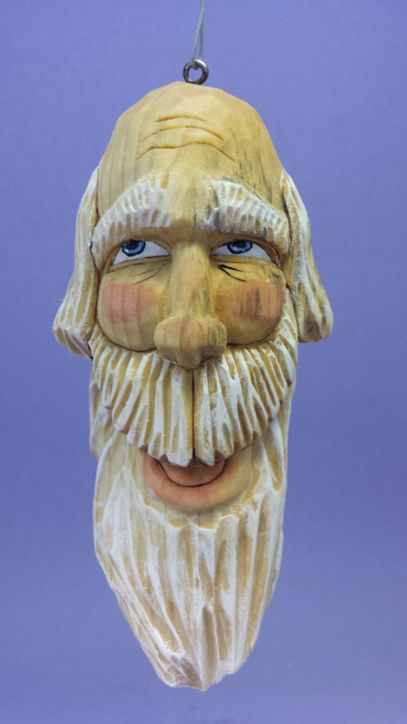 Hand carved santa claus hanging ornament wood carving