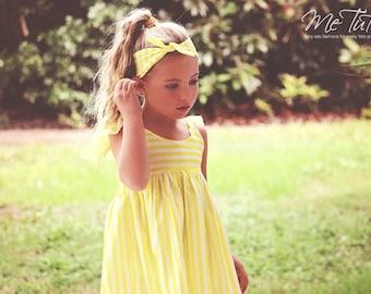 Vintage Shabby Chic Yellow Stripe Flutter Sleeve Pink Blue Cream Whtie Floral Girl Baby Girl Dress