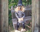 Tall Primitive Folk Art hand embroidered scarecrow raffia hair black and white pumpkin faap haguild ofg HAFAIR