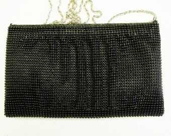 Vintage LaRegale Black Beaded Purse Wedding Evening Opera Prom Gift Guide Women Junior Bridesmaid Bridal Party
