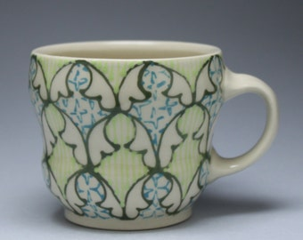 Coffee Mug - Handmade Ceramic Cup with Green, Chartreuse, Turquoise Pattern