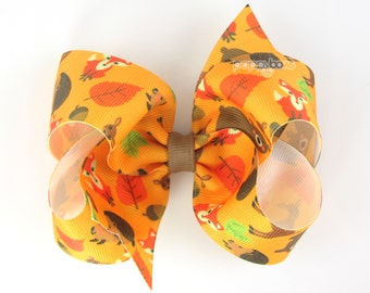 Fall Hair Bow 4 Inch Woodland Creatures - 4 Inch Hair Bow - Classic Boutique Bow - Hairbow for Baby Toddler Girls Light Orange Fox Leaves