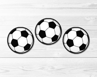 Soccer Ball Round Labels -- Soccer Birthday, Football, 1 Inch, 2 Inch, Cupcake Topper, Sports, Digital Stickers, Printable, Instant Download