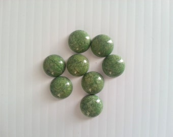 8 howlite flat back beads . dyed green cabs for jewelry making beads . beads . olive green beads for crafts . flatback cab beads