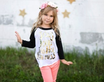 JESUS loves this little hot mess - girls graphic gold foil baseball tee