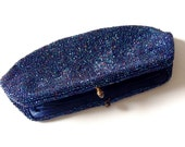 Vintage Walborg Midnight Blue Seed Bead Evening Clutch Purse 1950s Hilde Weinberg Creation Elegant Evening Fashion Accessory Made in Belgium