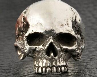 Skull Ring,Half Jaw, Mens or Women's Custom Sterling Silver Skull Ring, Small - Medium size
