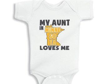 My Aunt in MINNESOTA Loves me baby Boy bodysuit or Kids Shirt