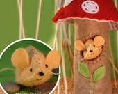 Mouse & Mushroom Sewing Kit, Red Capped Mushroom House, Beige Mouse, Felt Craft Kit, Beginner Sewing Kit, Hand Stitching, 'Mousey Mushroom'
