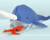 Narwhal Sewing Kit, Felt Narwhal Craft Kit, Blue Narwhal, Orange Squid, Beginner Sewing Kit, DIY Sewing, 'Nathan Narwhal' Heidi Boyd
