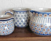 Saved for Joy: CLEARANCE PRICE Polish Stoneware Pitchers Set of 3